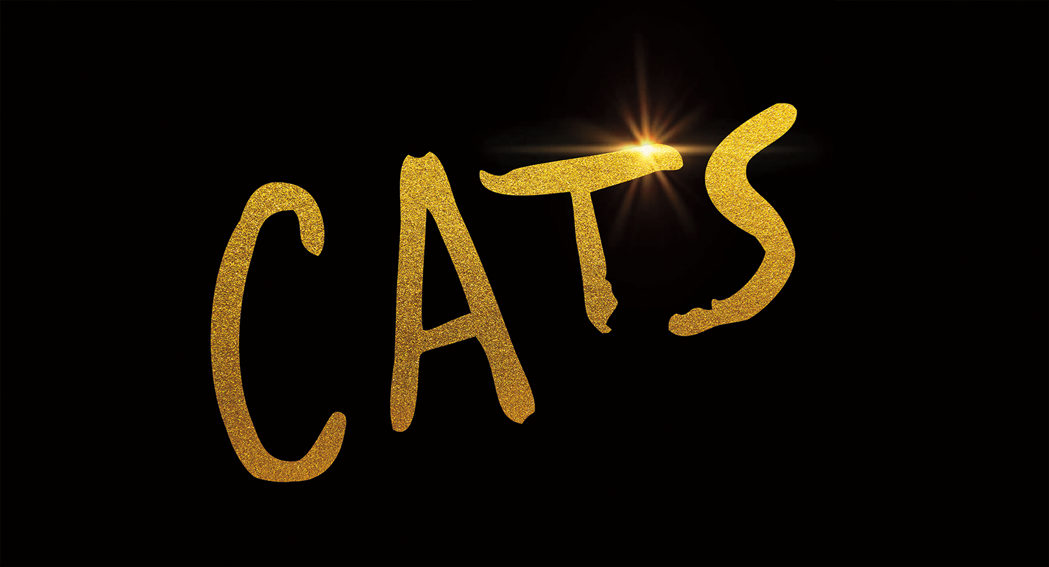 Black background with CATS in sparkly gold text