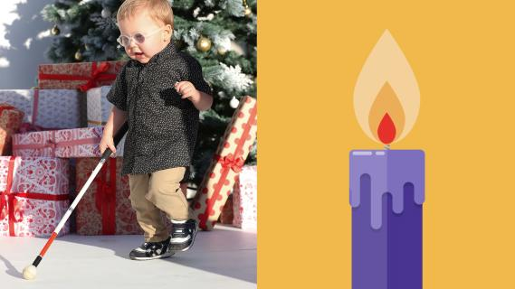 The image shows Vision Australia client, Parker, who was about 18months old when the picture was taken. Parker is wearing a small pair of children's glasses and is dressed in a black shirt and brown pants. He is walking with a small white cane in front of a Christmas tree with festively wrapped Christmas presents underneath it. On the right side of the image is a purple candle on an orange background.
