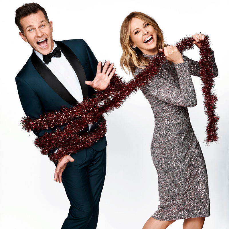 David Campbell & Allison Langdon with tinsel